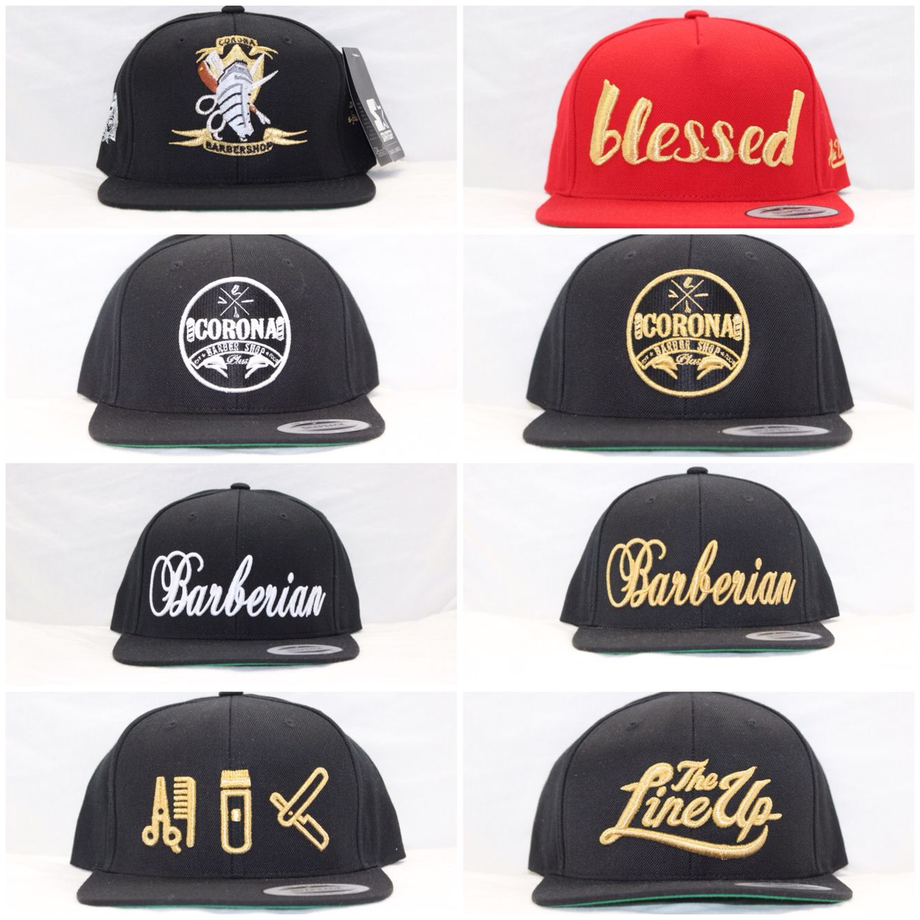 A Few Snapbacks From Our Collection Barber Clothing Barber Shop Barbershop Design