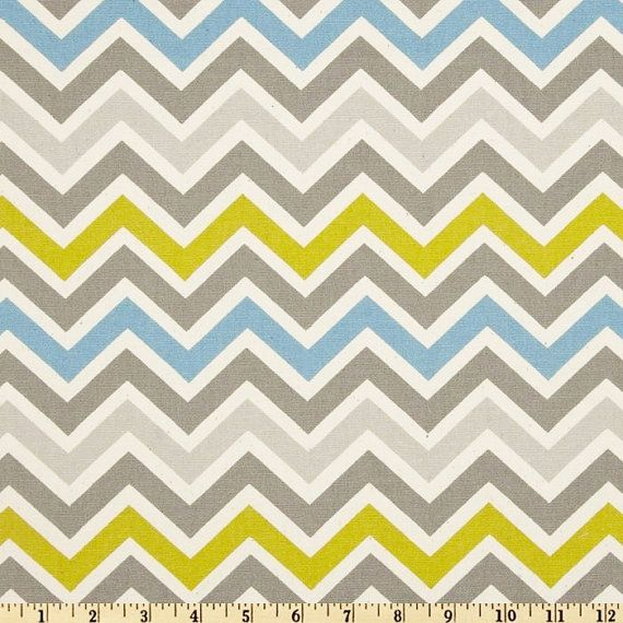 fabric Zoom Zoom Summerland grey blue green yellow natural Premier ...
