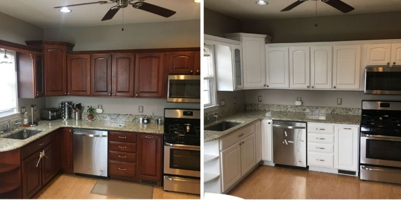 Toronto kitchen cabinet painting before and after white ...