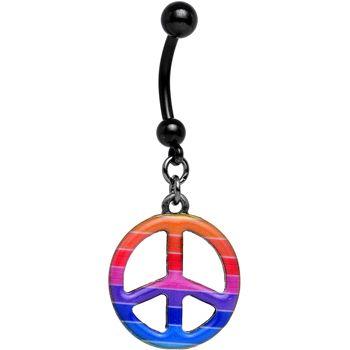Black Anodized Titanium Rainbow Peace Symbol Dangle Belly Ring | Body Candy Body Jewelry