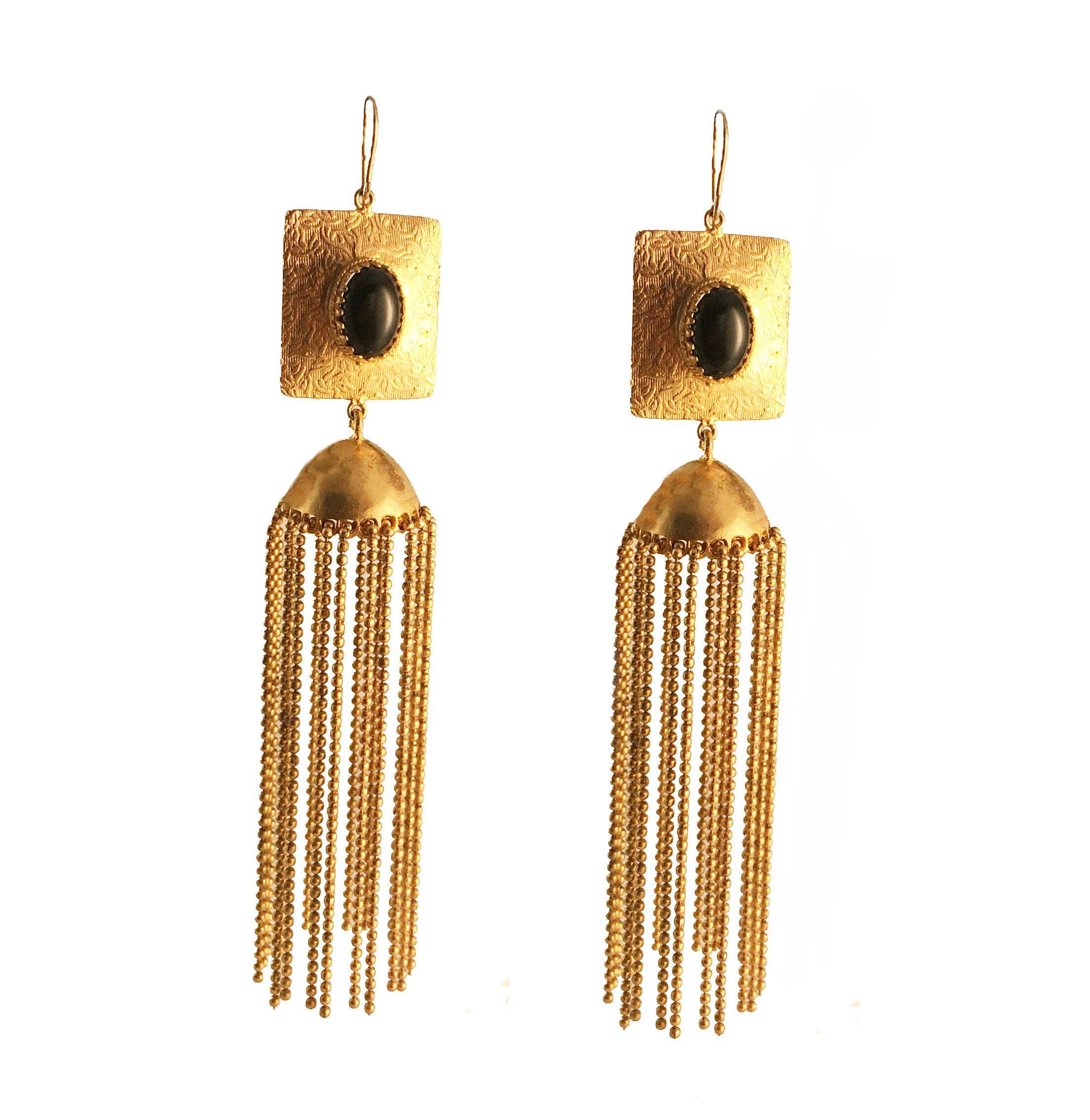 Black gold Earrings Modern gold Chandelier Earrings 18K gold