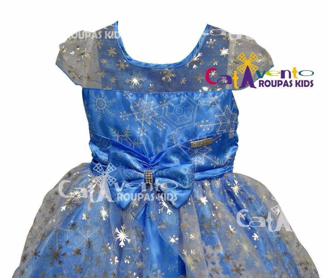 5ad3f94249 Vestido Festa Infantil Princesa Frozen E Tiara De Princesa - R  119 ...