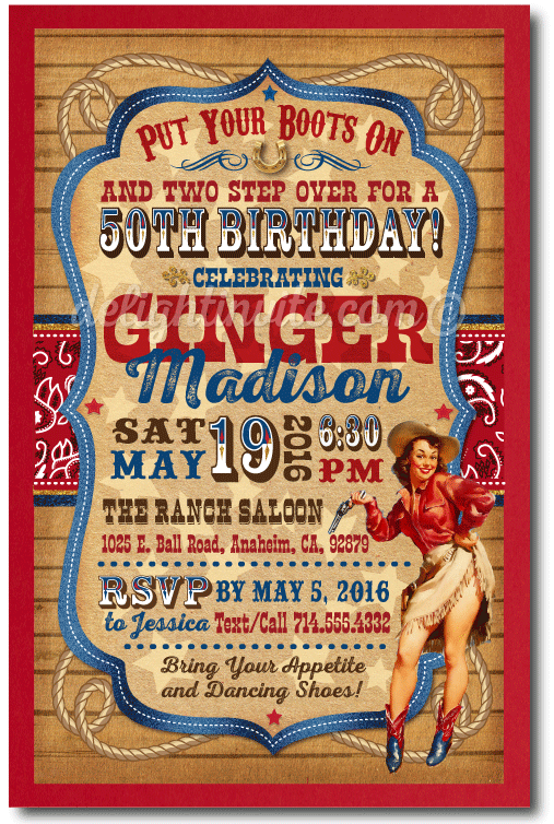 Vintage Pin Up Cowgirl 50th Birthday Party Invitations Western