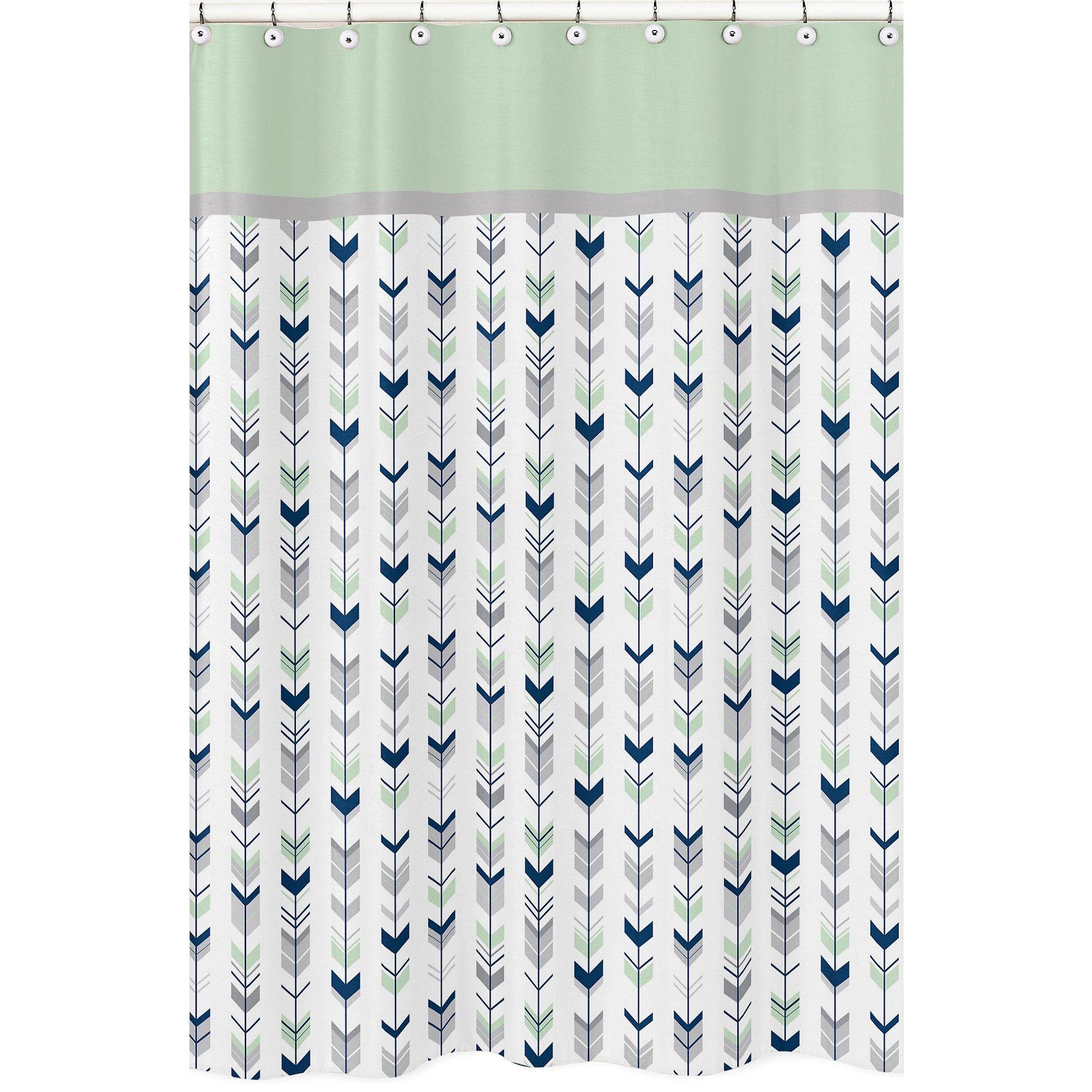 Mod Arrow Shower Curtain Navy Mint Blue Green