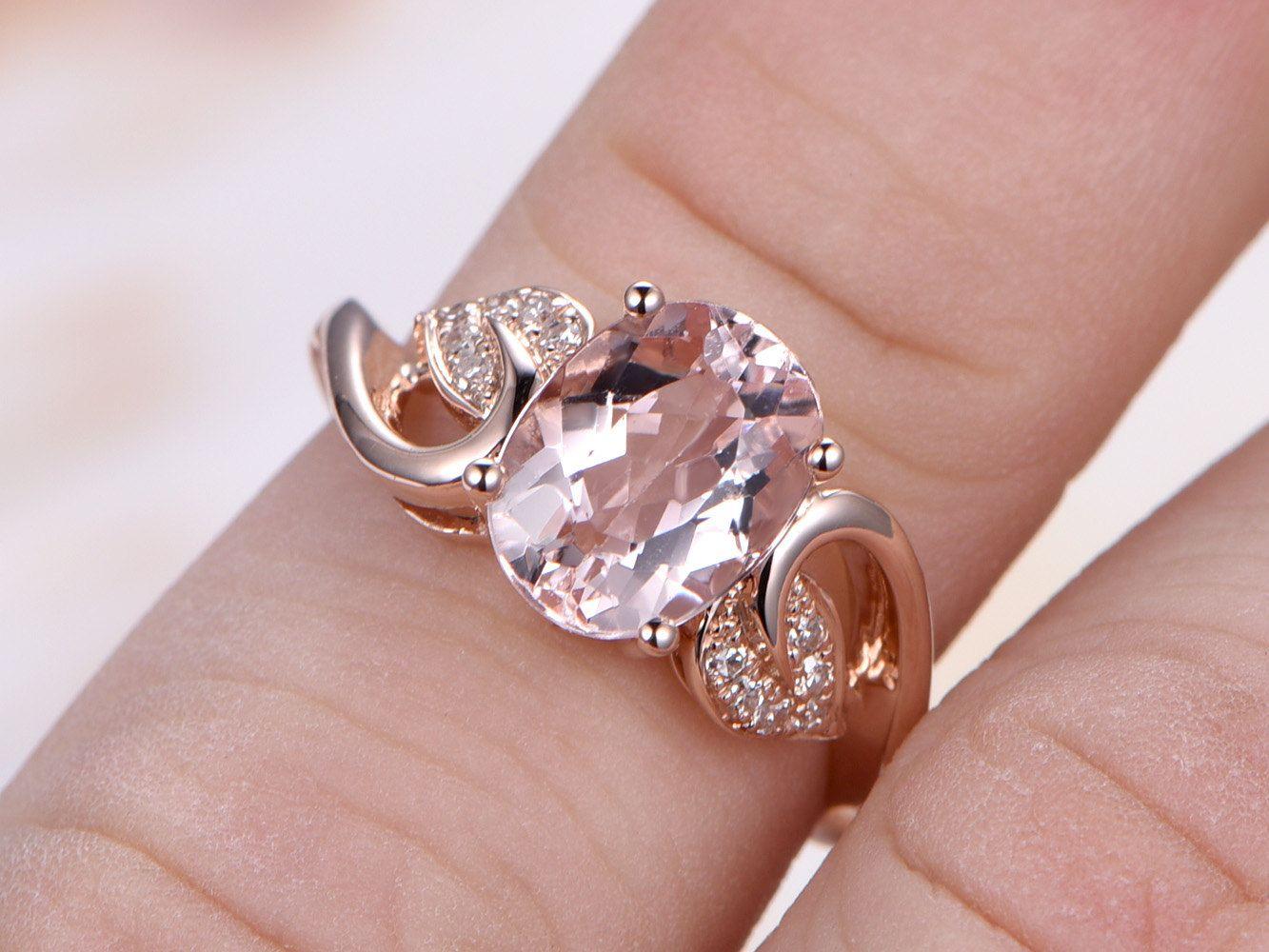 Floral Design Morganite Ring,Pink Morganite Engagement Ring,7x9mm ...