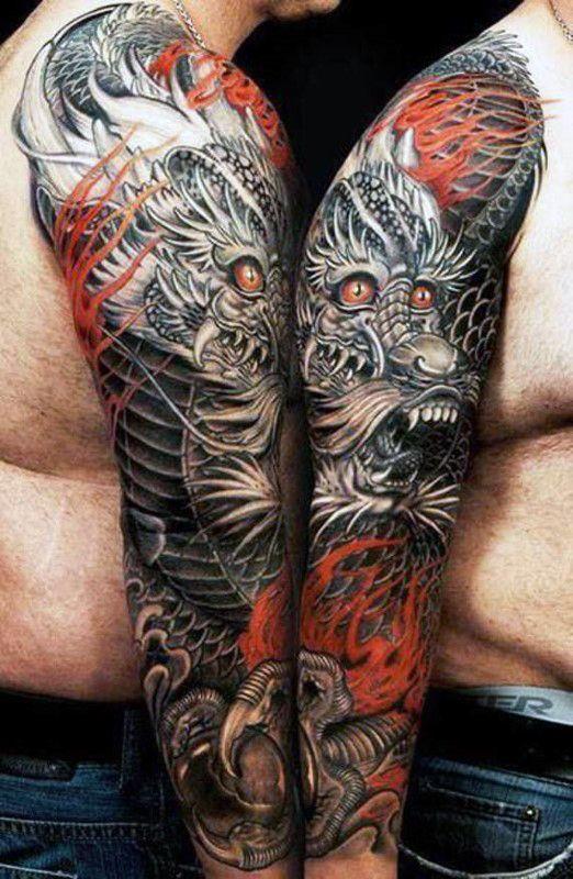 127029c10 100 Dragon Sleeve Tattoo Designs For Men - Fire Breathing Ink Ideas ...