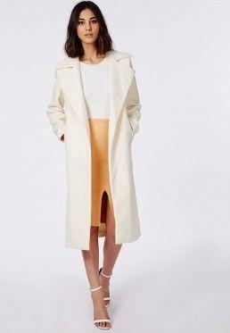 Khloe Oversized Premium Waterfall Coat Ivory