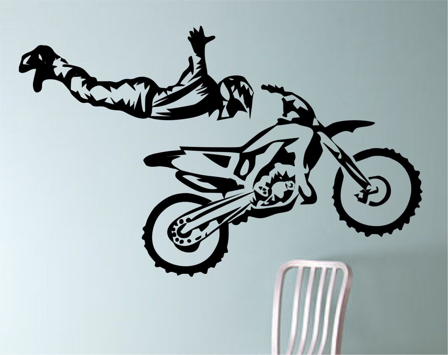 Dirt bike biker superman trick motorcycle vinyl wall decal for Dirt bike wall mural