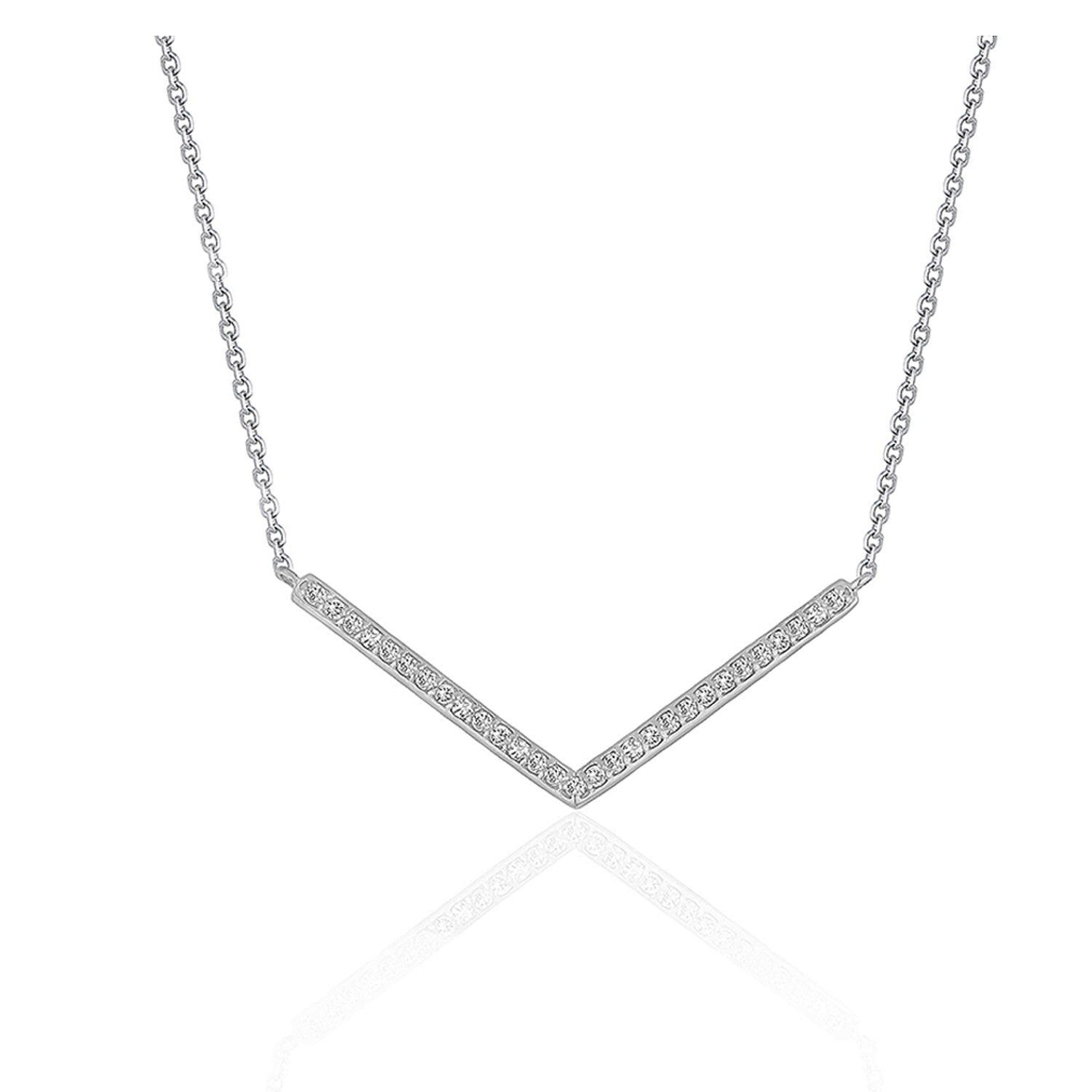 Diamond Chevron Pendant in 14K White Gold 1 3 ct tw