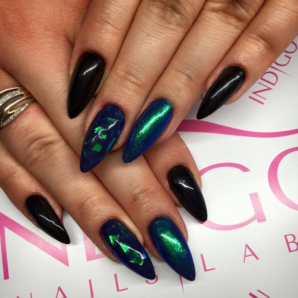 Mirror Effect Gel Nail Polish: Paint Gel + Gel Brush Sky Bar + Emerald Magic Effect