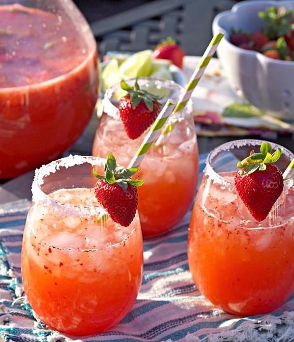 Strawberry Margarita Punch Recipe #summer #cocktails