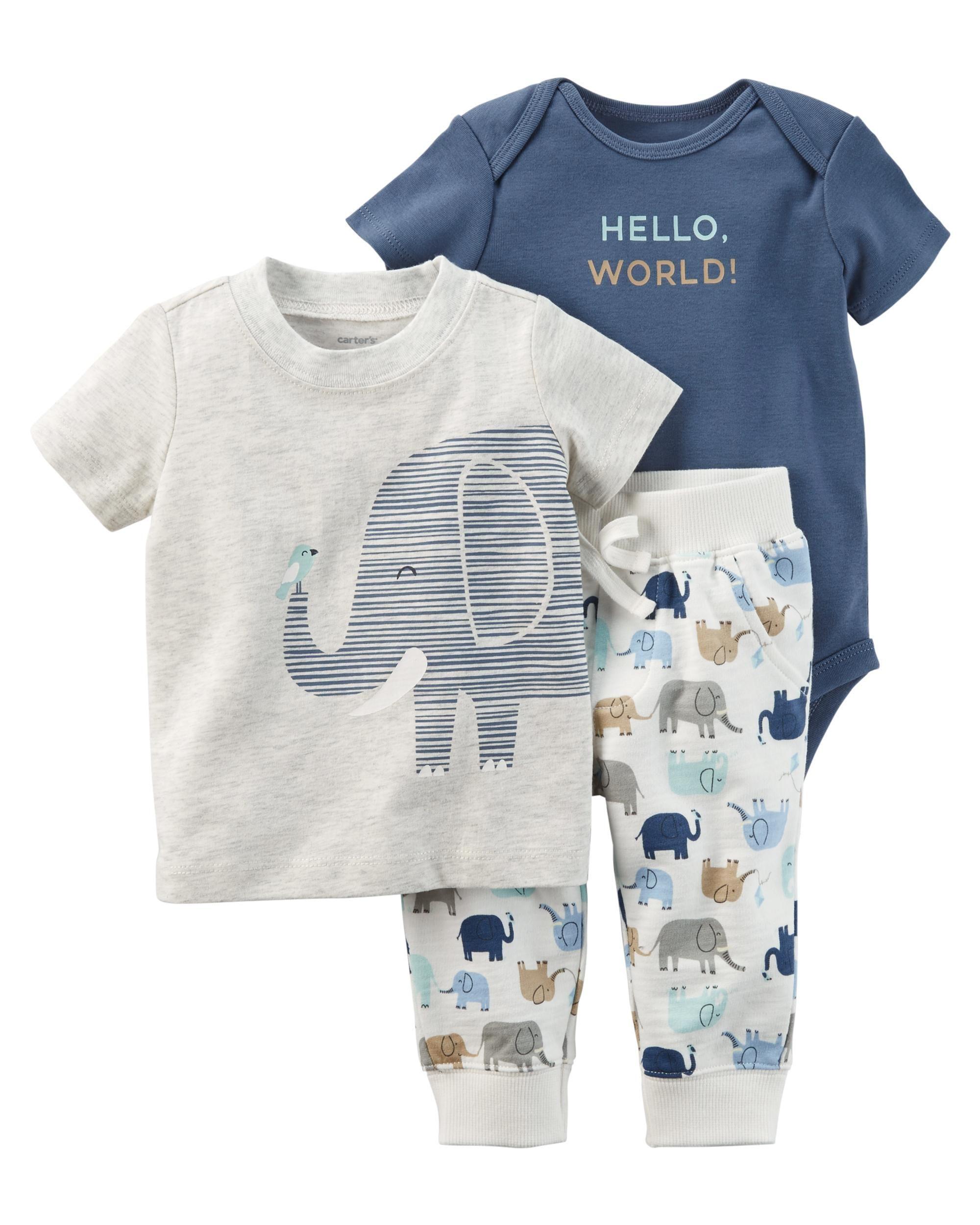 3 Piece Elephant Babysoft Bodysuit Pant Set