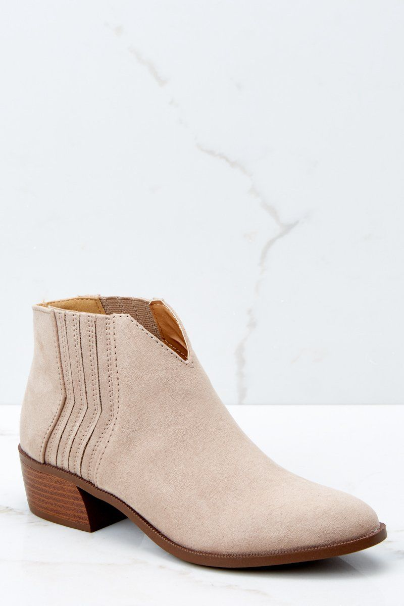 b15789eca Trendy Beige Ankle Booties - Vegan Leather Ankle Boots - Shoes - $34 – Red  Dress Boutique