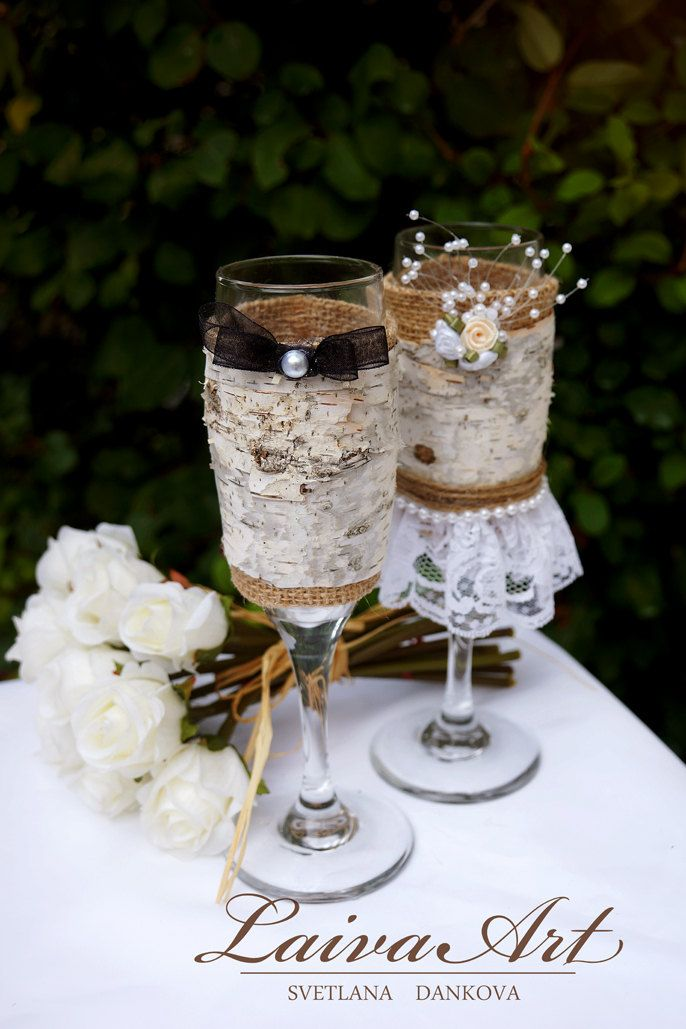 Personalized / Wedding / Champagne Flutes / Rustic wedding /  Birch wedding / Outdoor wedding / Cottage wedding / Barnyard wedding - pinned by pin4etsy.com