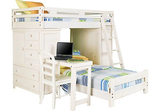 Shop For A Creekside White Wash Twin Twin Student Loft Bed W Desk
