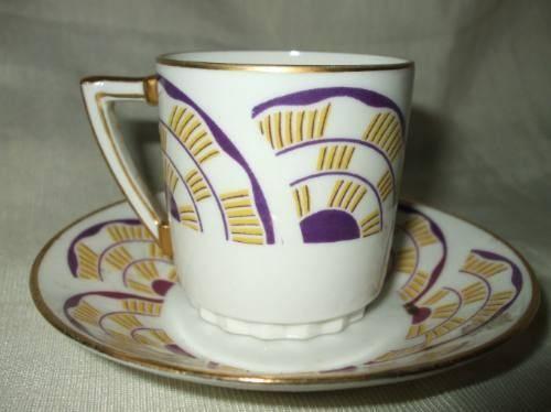 Art Deco Limoges Porcelain Coffee Cup Cafe Ceramique Porcelaine