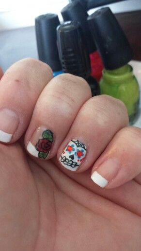 Rose day of the dead french tip dia de los muertos nail rose day of the dead french tip dia de los muertos nail prinsesfo Images