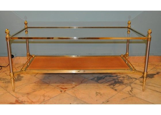 Glass And Brass Coffee Table By Maison Jansen Coffee Tables