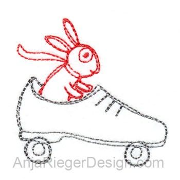Bunny drives a Shoe (Redwork)