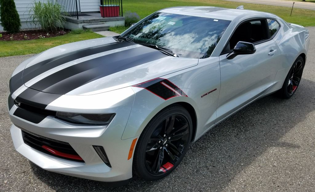 Satin Black Rally Stripes Installed On A Silver Camaro For Buffwhelanchevy