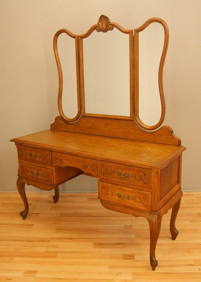 Vintage french oak dressing table with mirror in