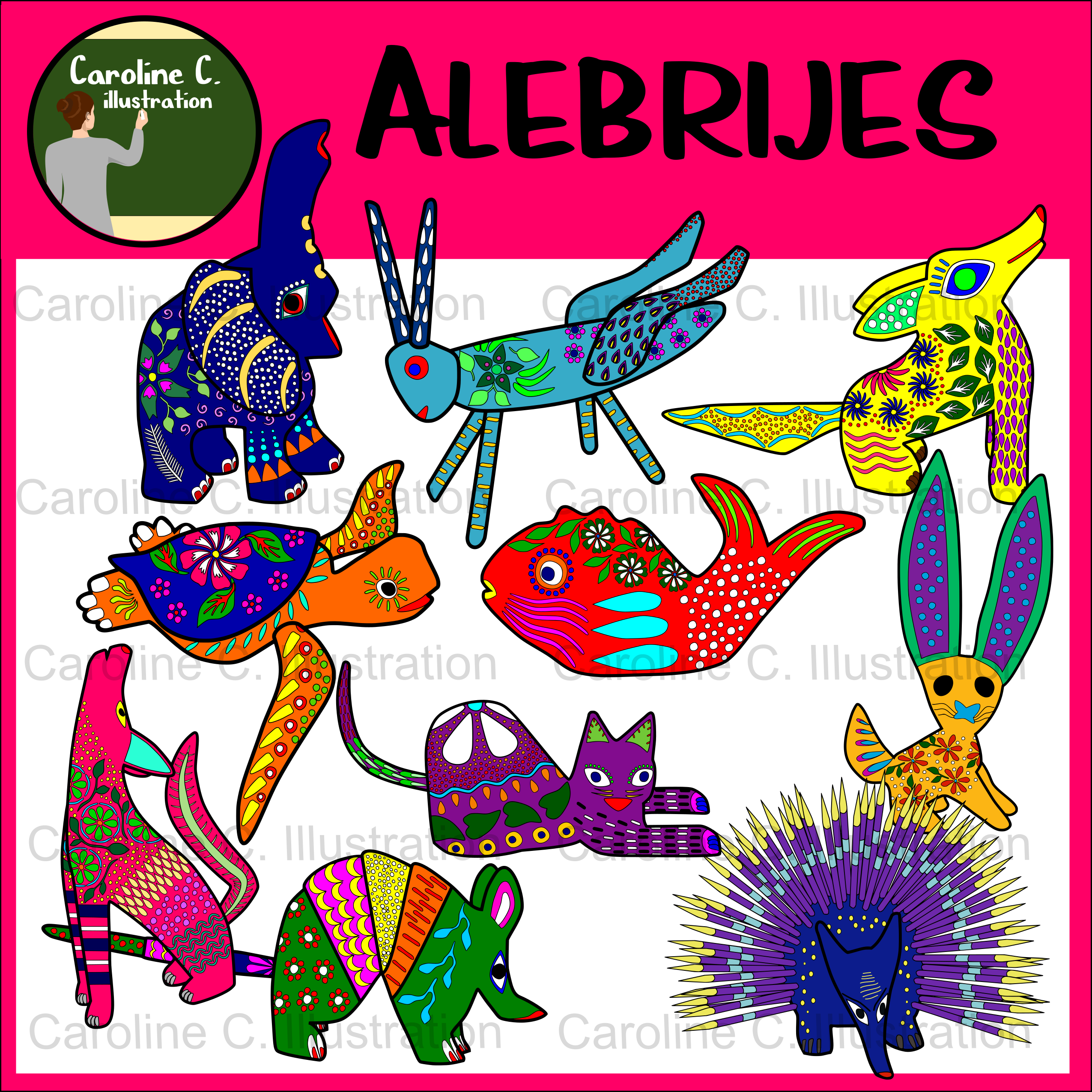 small resolution of mexican alebrijes clip art flat stanley spanish class clip art mexico spanish