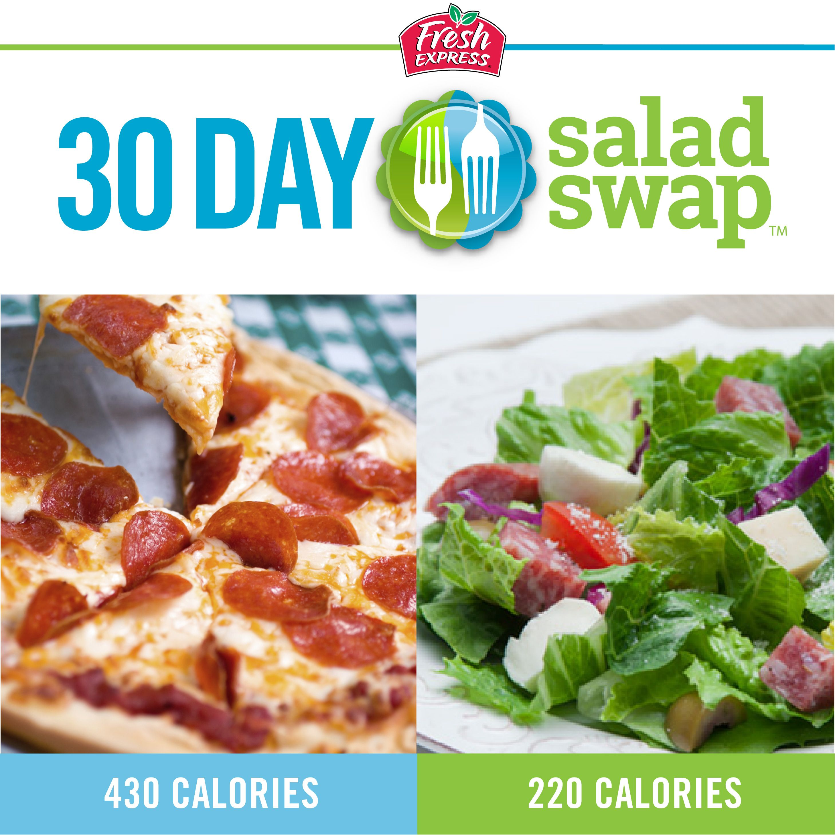 How about the flavor of a large slice of pizza with only a sliver of the calories? Our Pizza Antipasto Salad really delivers! Sign up for the 30 Day Salad Swap and get this recipe plus many more! #saladswap #FreshExpress