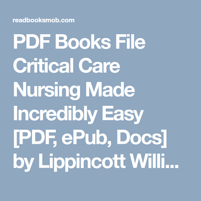 PDF Books File Critical Care Nursing Made Incredibly Easy