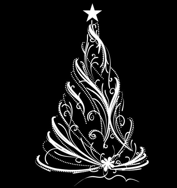 Christmas Tree UBer Decals Wall Decal Vinyl Decor Art Sticker - Christmas wall decals removable