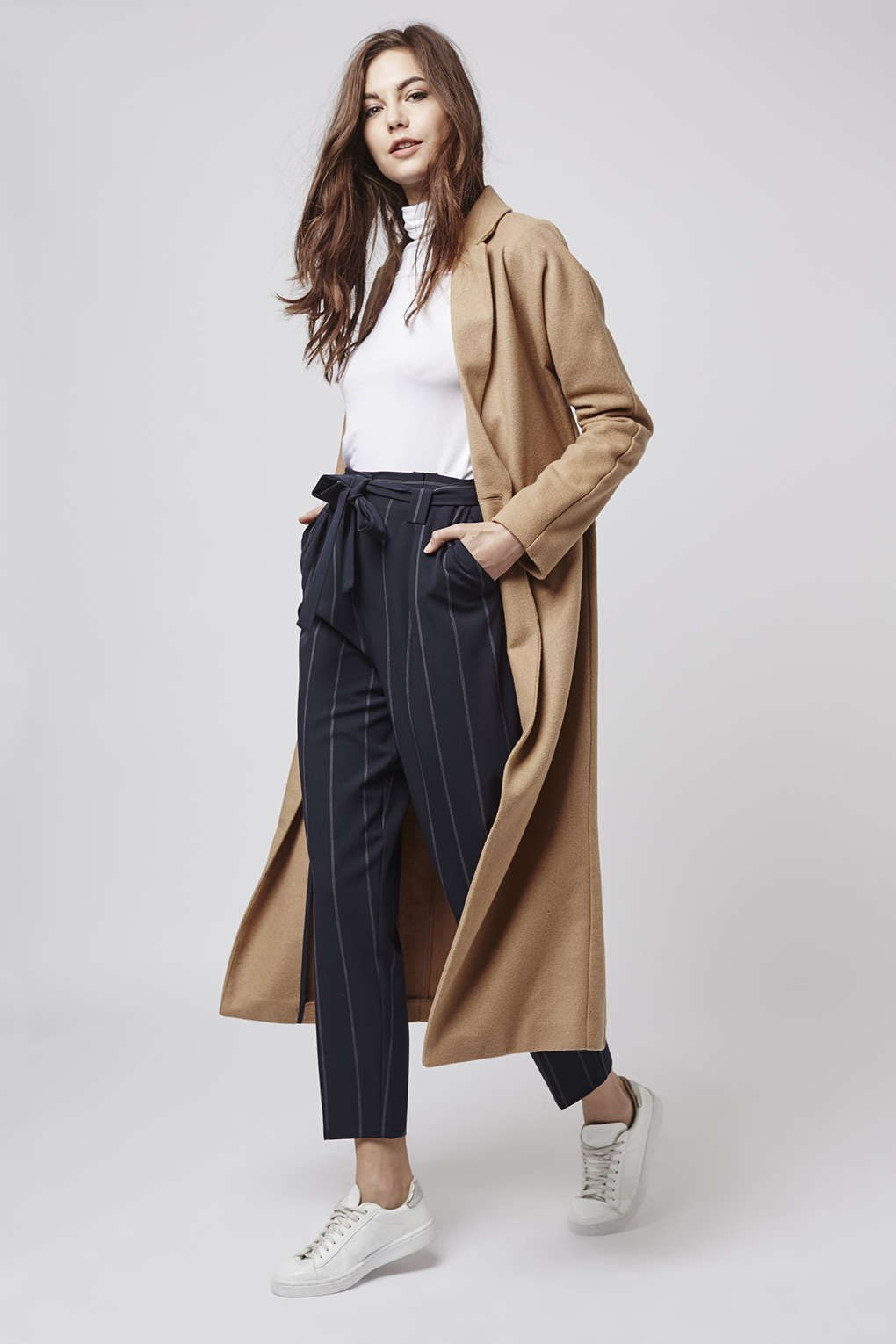 Paper bag trousers - Tall Pinstripe Paperbag Trousers