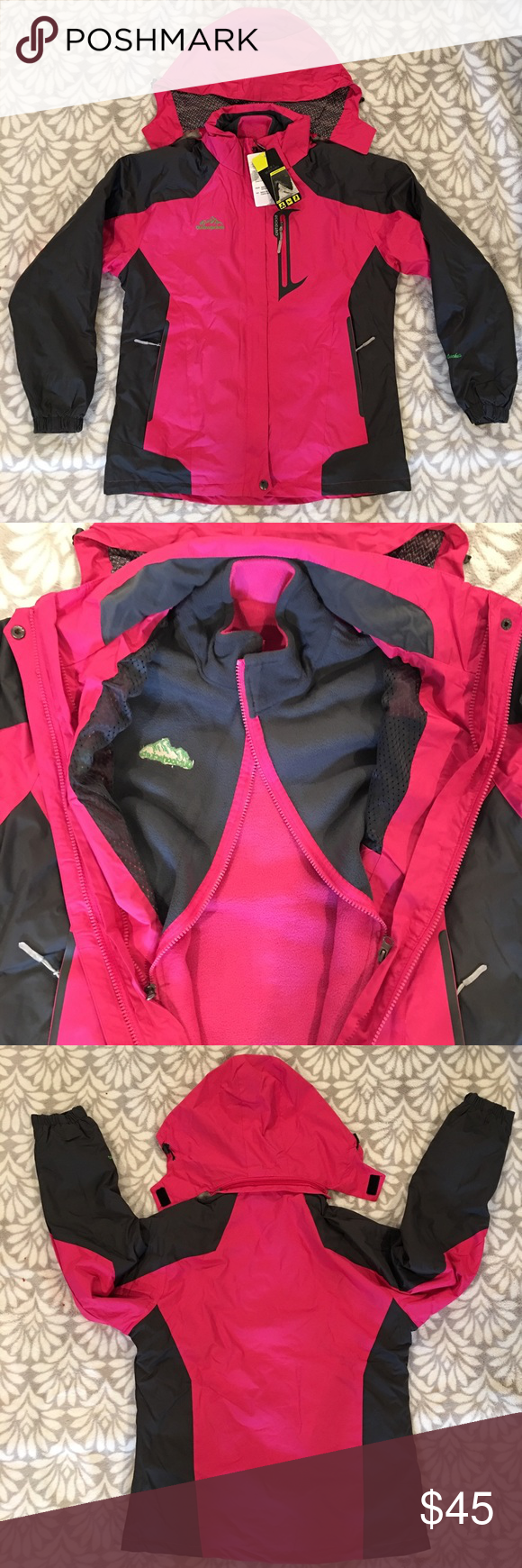 3174e62ef Deshengren Winter Three-in-one Jacket NWT 3 in 1 jacket, removable inner  fleece jacket and removable hood. Runs small. Tag says 2xl but runs snug.