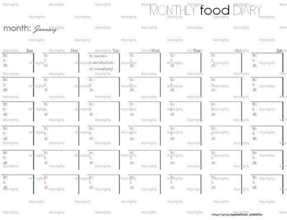monthly food diary tracker printable pdf by tidymighty on etsy