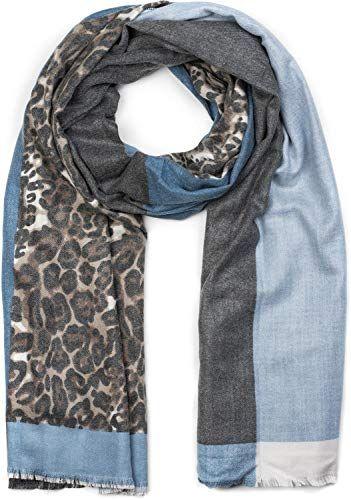 styleBREAKER Châle pour femme avec motif léopard et trois parties colorées  écharpe d hiver étole c47dfd4d680