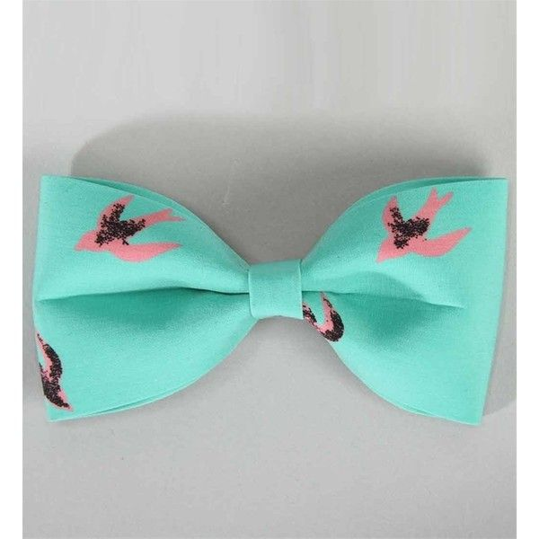 Mint Bird Print Hair Bow found on Polyvore
