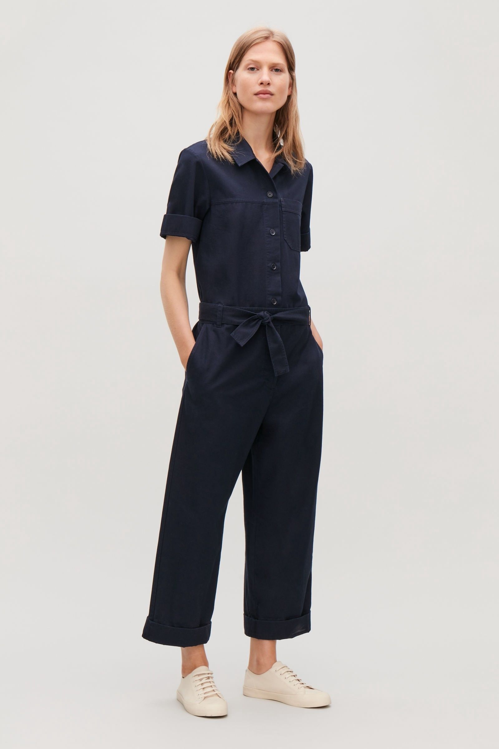 f758930e4a6 Cos Belted Cotton Jumpsuit - Blue 12