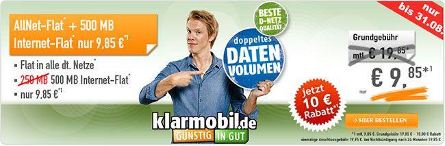500MB Telekom Allnet Flat für 9,85€ http://www.simdealz.de/telekom/klarmobil-allnet-spar-flat-aktion/