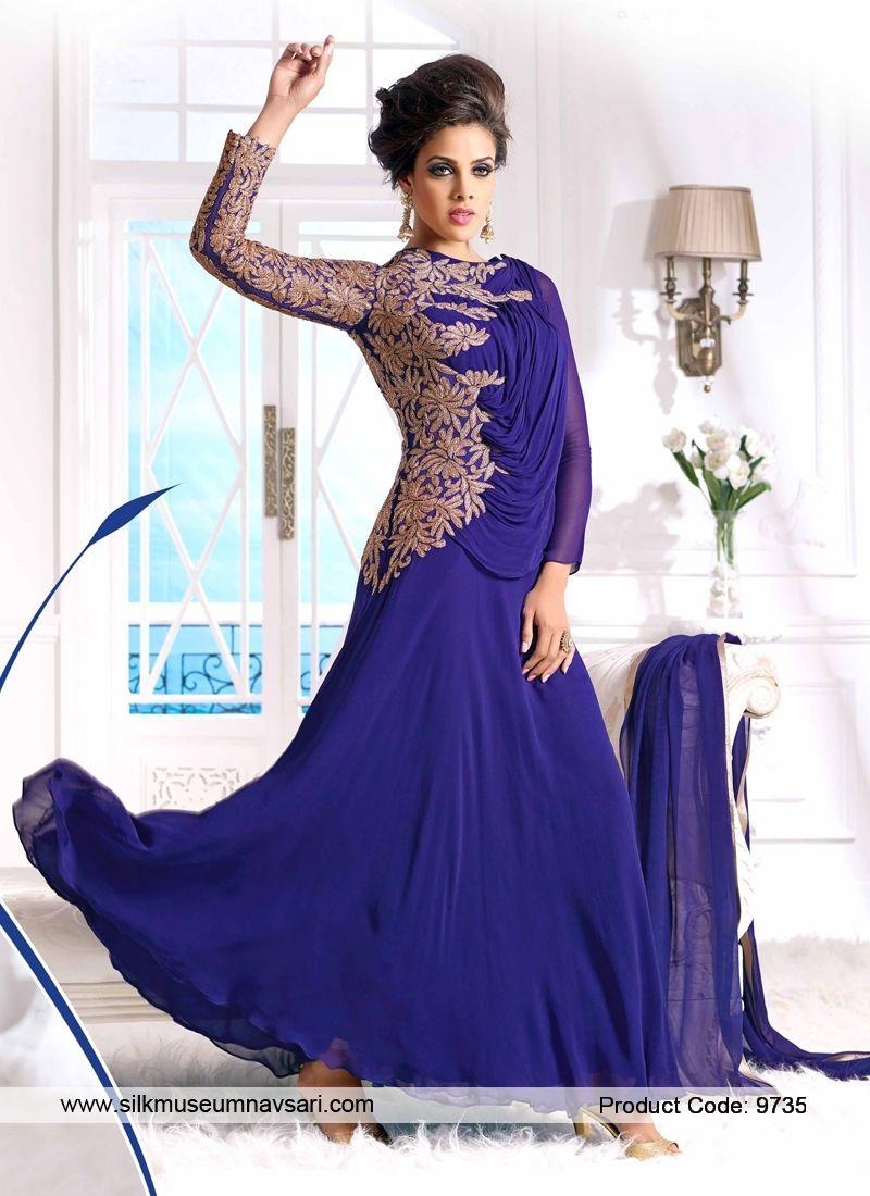Pleasurable Faux Georgette Heavy Zari Work Designer Gowns | Indian ...