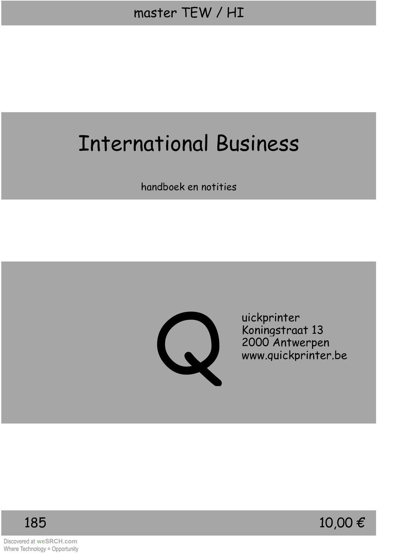 #InternationalBusiness Handboek en Notities