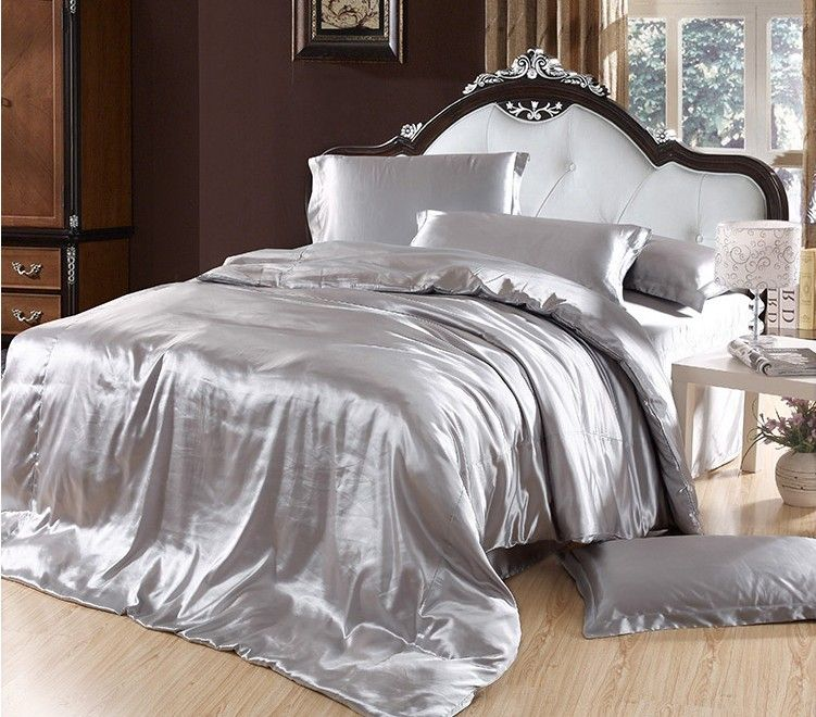 Elegant+Bedding | Solid Color Silk Smooth Bedding Set Silver Comforter Set Purple Duvet  .