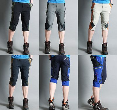walking Mens cropped Trekking Hiking climbing caving Pants 3/4 trousers shorts