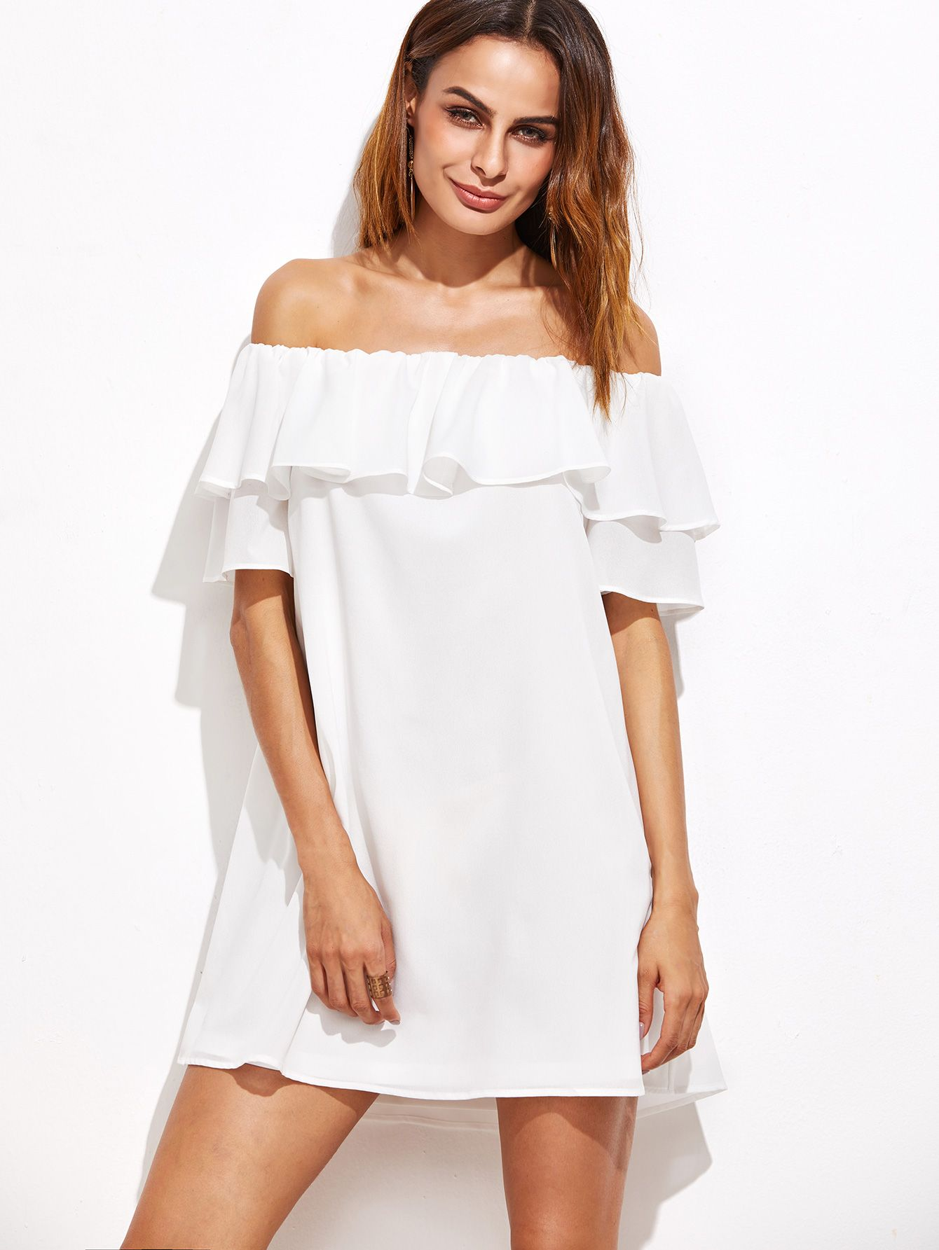 93317586ff Shop White Off The Shoulder Ruffle Dress online. SheIn offers White Off The  Shoulder Ruffle Dress & more to fit your fashionable needs.
