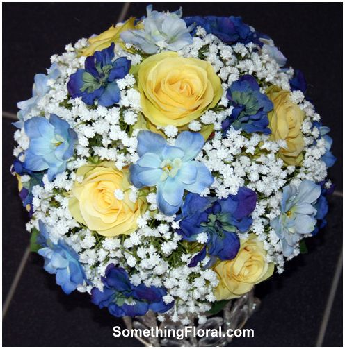 Dark Blue Flowers For Wedding Bouquets: Realistic Silk / Artificial Bridal Bouquet Of Yellow Roses