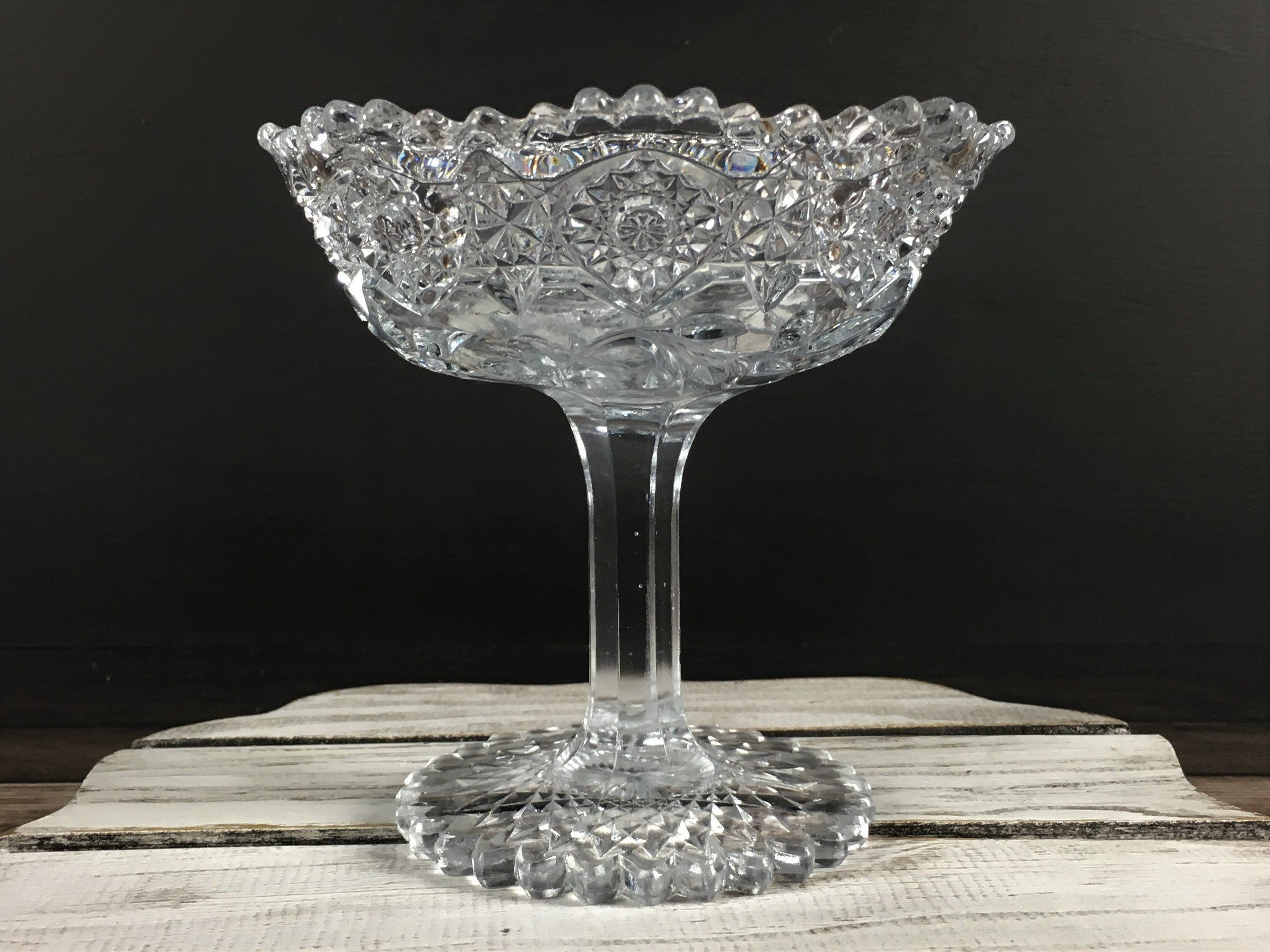 Antique American Glass Compote Flower And Diamond Pattern Eapg
