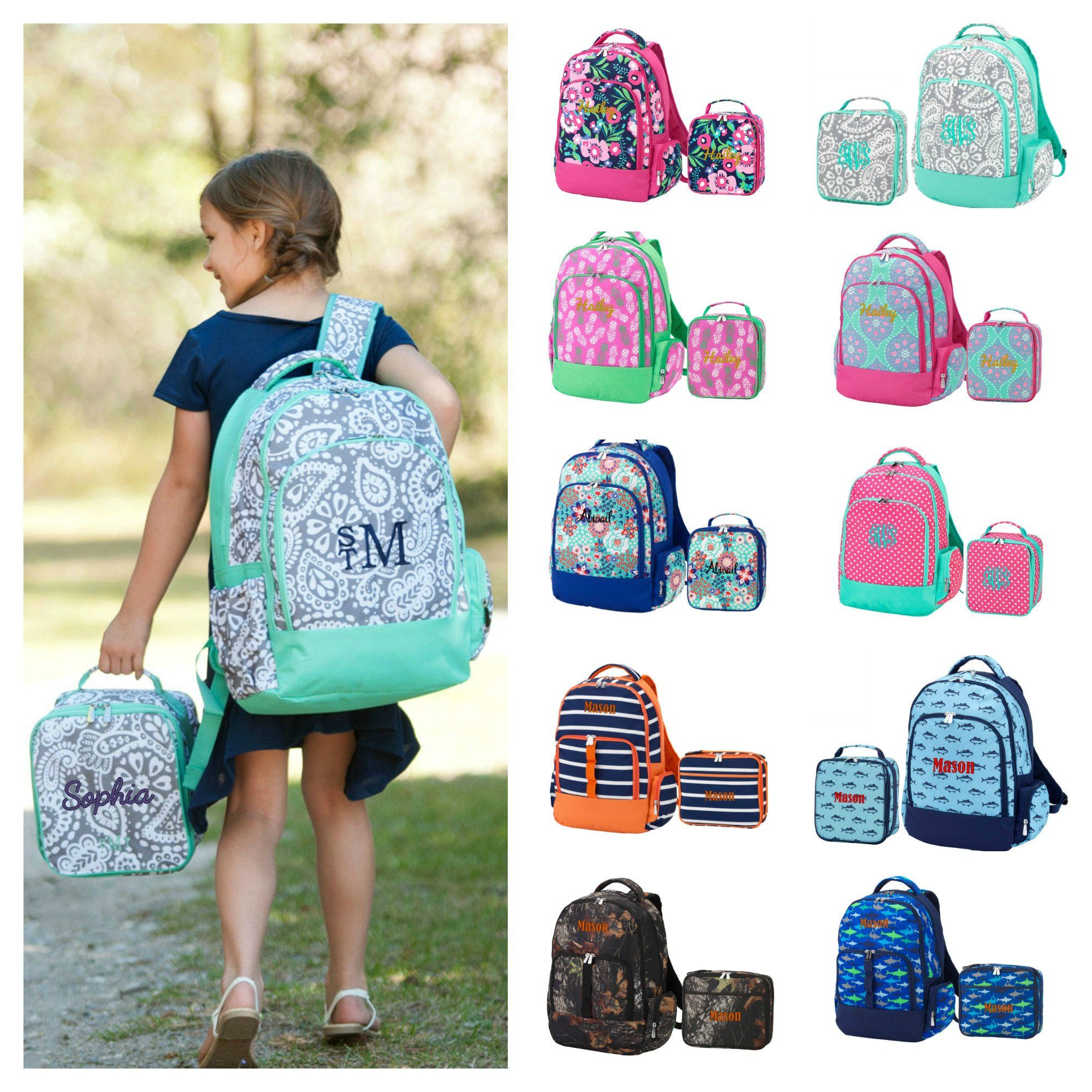60cce7c990 Personalized Matching Backpack   Lunchbox Combo Bookbag   Lunch Bag -  Paisley