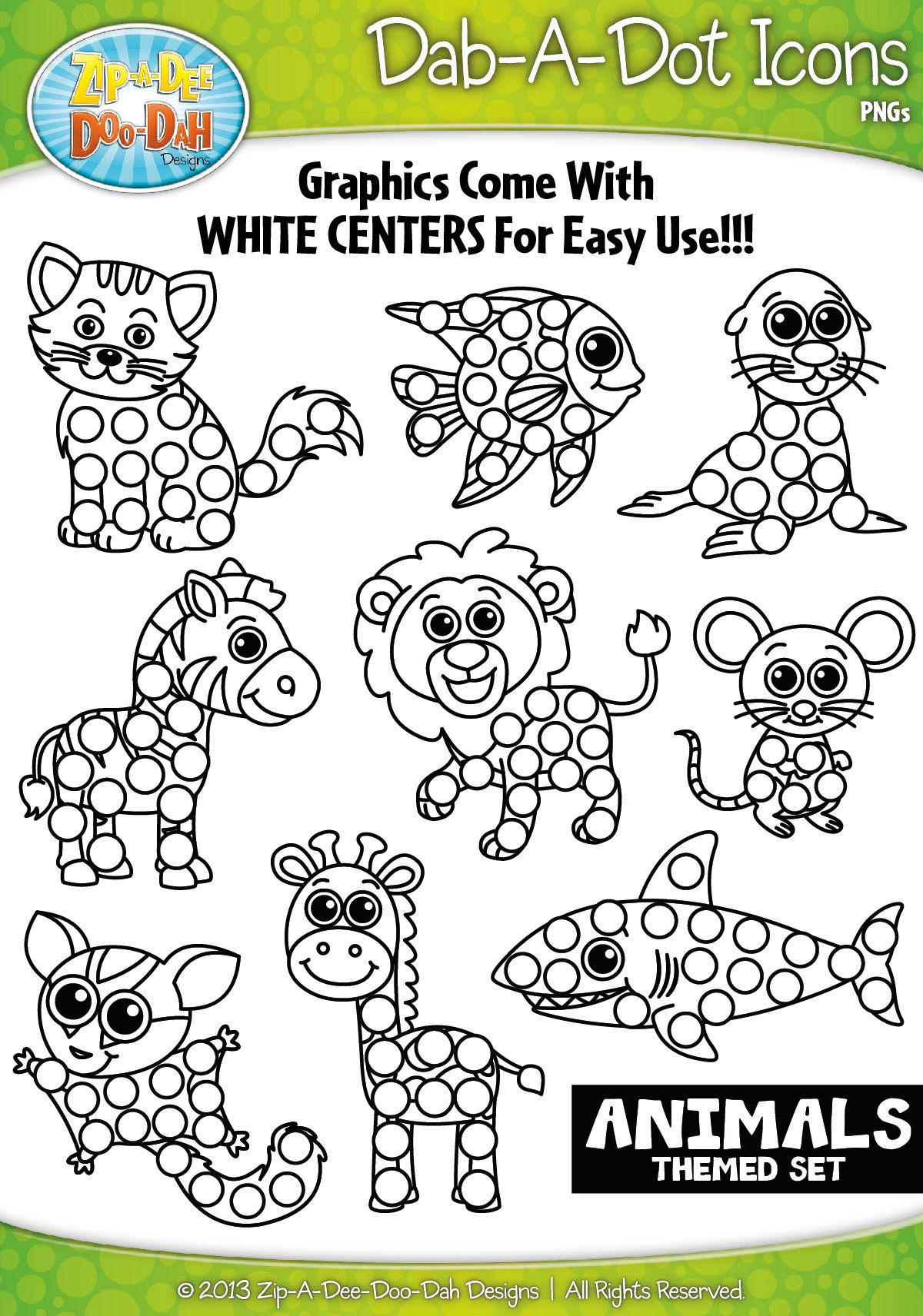 Animals Dab A Dot Markers Graphics Clipart Zip A Dee Doo