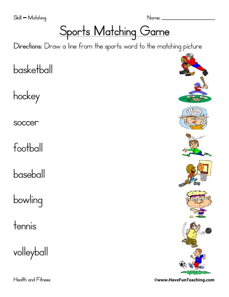 Sports Matching Worksheet Have Fun Teaching Matching Worksheets