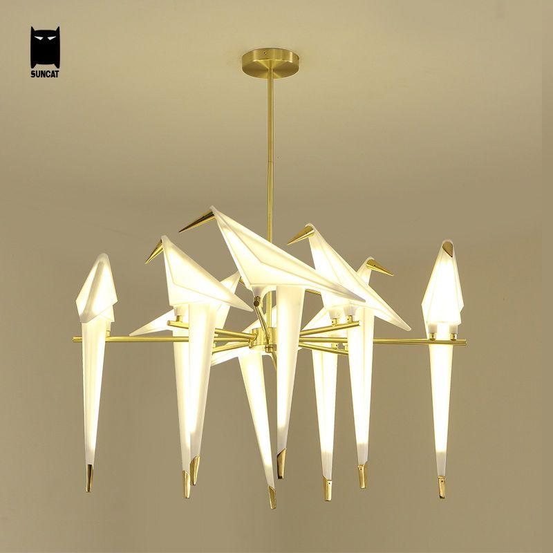 Gold Bird Luxury Chandelier Ceiling Light Fixture Modern