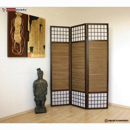 Homestyle4u 3 fach Paravent Raumteiler - Holz Trennwand Shoji mit