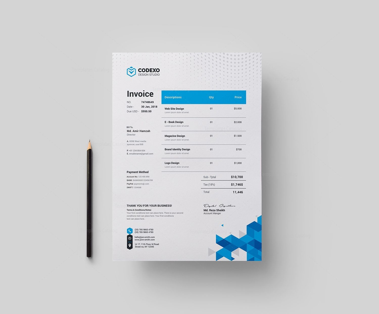 Berlin Professional Corporate Invoice Template 001763 Proposals