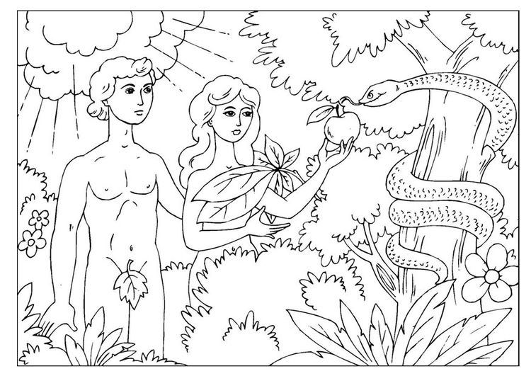 Coloring page Adam and Eve | Bible | Pinterest | Bible crafts, Hobby ...